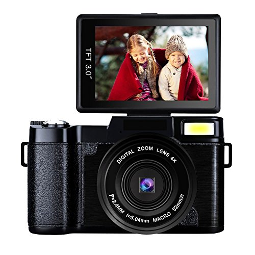 Digital Camera Camcorder Full HD 1080p 24MP Video Camera 3.0-Inch LCD Mini Vlogging Camera With UV Lens by Gongpon
