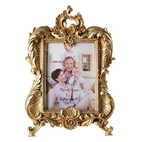 Holiday Color Photo (Giftgarden Gold Vintage Picture Frame 5 by 7 -Inch Brushes for Home Decor Photo Display 5x7)