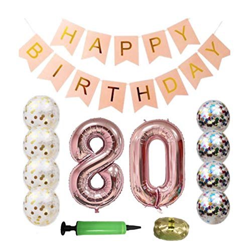 QTW 80th Birthday Party Supplies - Rose Gold 80th Birthday Balloon, 80th Birthday Banner, Confetti Balloon Decoration, Female 80th Birthday, use Them as Photo Props(Rose Gold 80)]()
