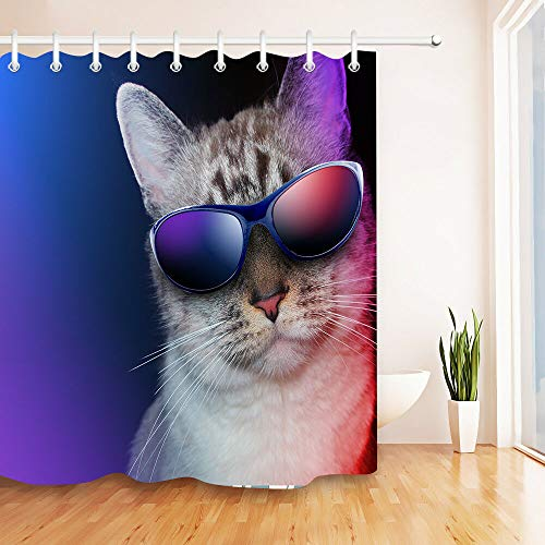 SZZWY Cat Sunglasses Background Pattern Shower Curtain Set 3D Printing Waterproof Coated Polyester Fabric Bathroom with 12 Hooks 71 inches ()