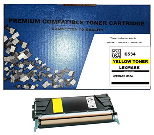 (ALL CITY USA REMANUFACTURED Toner Cartridge Replacement for LEXMARK C534 (Yellow) Extra HIGH Yield)