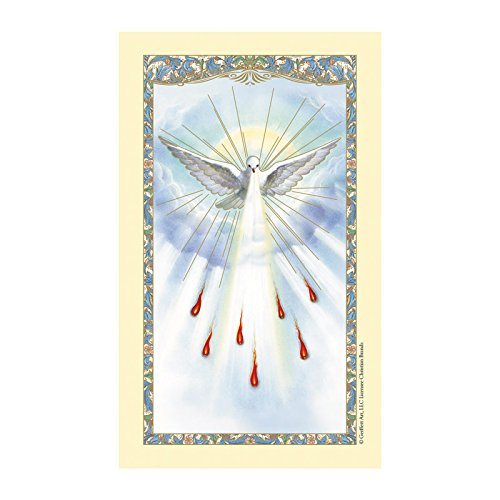 CB Catholic Christian Confirmation Holy Prayer Card-Beautiful Image of The Holy Dove in The Sky granting The 7 Holy Gifts (5 Pack) ()