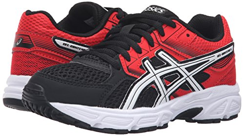 ASICS GEL-Contend 3 GS Running Shoe (Little Kid/Big Kid), Black/White/Vermilion, 7 M US Big Kid