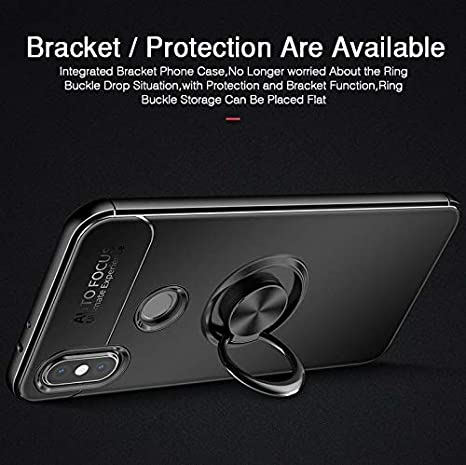 9cdc70598 Xiaomi Redmi Note 6 Or Note 6 Pro Case Car Invisible Holder Stand Magnetic  Suction Bracket Finger Ring TPU Cover - Black: Amazon.ae: KW-MH