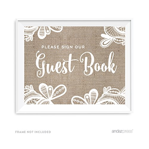 Andaz Press Burlap Lace Print Wedding Collection, Party Signs, Please Sign Our Guestbook, 8.5x11-inch, 1-Pack