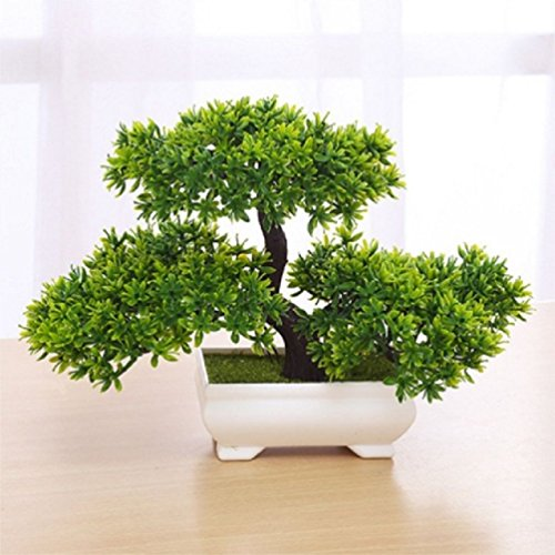 (1Pcs Artificial Bonsai Tree Welcoming Plant Potted Bonsai Fake Mini Flower Green Plant Pine Pot Vase Wedding Home Decoration)