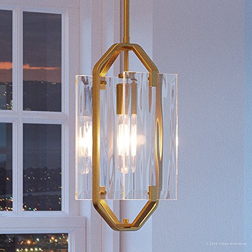 Clear Satin Gold Pendant (Luxury Contemporary Pendant Light, Small Size: 17.625