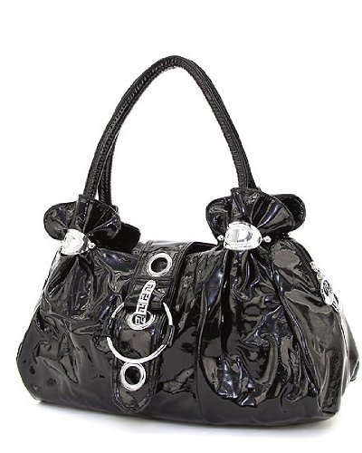 Black Patent Faux Leather Large Hobo Handbag, Bags Central