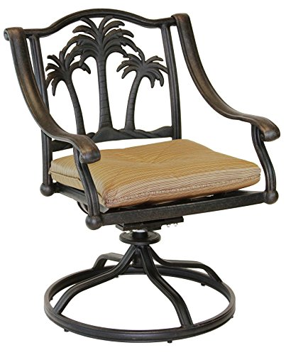 Heritage Outdoor Living Palm Tree Cast Aluminum Outdoor Patio Swivel Rocker with Seat Cushion - Antique Bronze