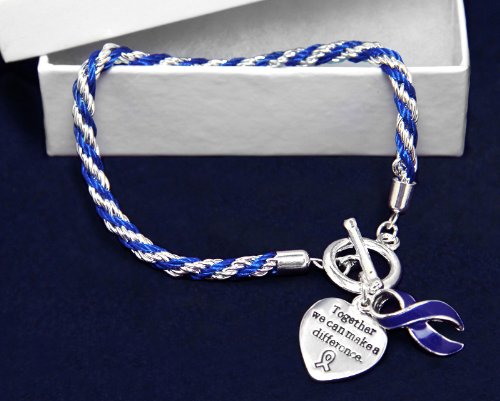 Fundraising For A Cause Rope Dark Blue Ribbon Bracelets Individually Bagged (Wholesale Pack - 12 Bracelets) by Fundraising For A Cause (Image #2)
