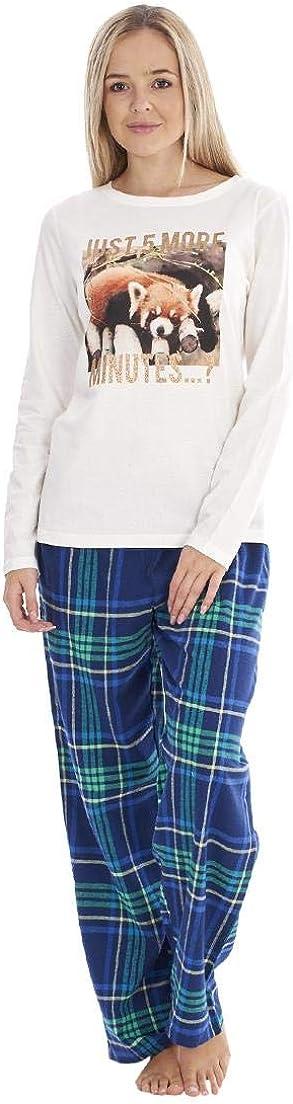 Ladies Long Sleeve Printed Stretch Womens Pyjamas Check PJ Set