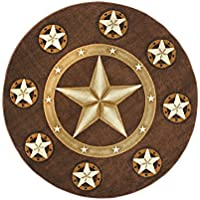 Champion Rugs Texas Lone Star State Area Rug Chocolate / Brown (7 Feet X 7 Feet Round)