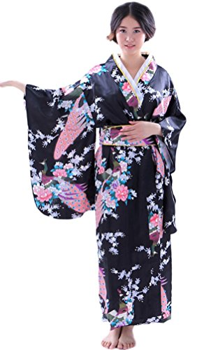 Soojun Women's Traditional Japanese Kimono Style Robe Yukata Costumes 1 (Geisha Dress)