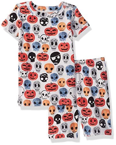 (Gymboree Baby Boys 2-Piece Tight Fit Sleeve Short Bottoms Pajama Set, Halloween Faces 12-18)