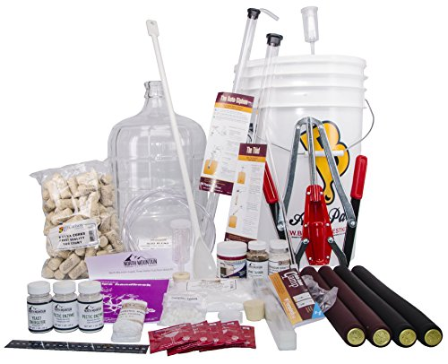 North Mountain Supply Nms 3 Gallon Complete - Glass 3 gal Wine from Fruit Complete 32pc Kit with Glass Carboy