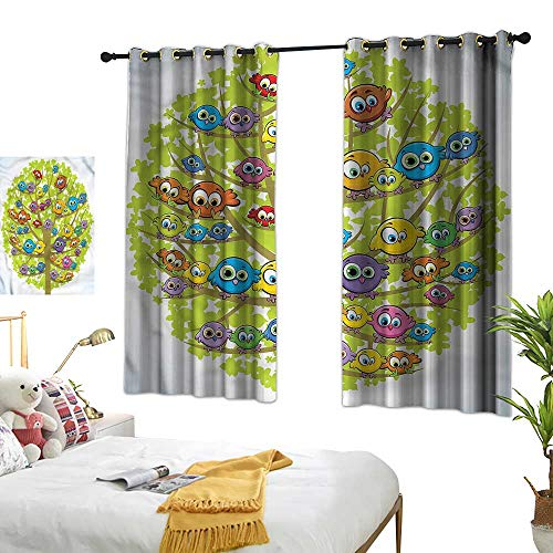 RenteriaDecor Funny Grommet Top Drapes Canary Bird Fun Family Thermal Insulated Draperies W55 x L39