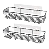 SMARTAKE 2-Pack Shower Caddy, Rustproof Bathroom Shelf Organizer with Hooks, SUS304 Stainless Steel Shower Storage Wall Rack for Dorm, Toilet, Bath and Kitchen, Large