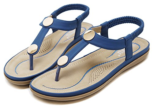 Agowoo Kvinners Metall Karakter Flat Thong Gang Strand Sandaler Blå