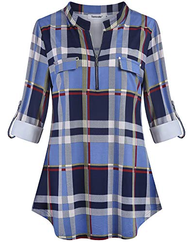 Tencole Womens Blouses Tops Work, Half Zip Tunic Blouse for Office Pleated Back Shirttail Hem Shirts Plaid Print Top Collared Tunic Tops for Women ()