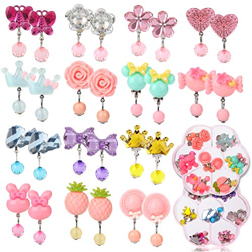 Clip On Earrings Kids - Hifot 14 Pairs Clip on Earrings