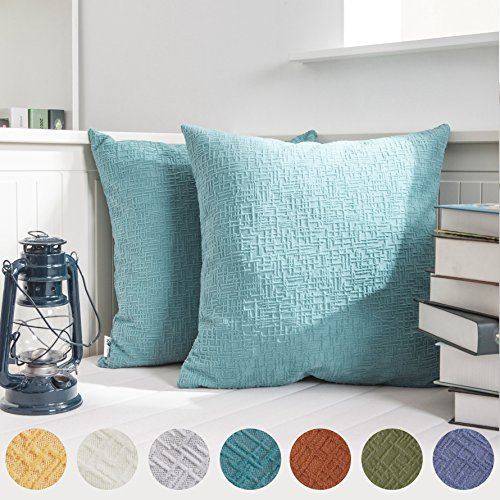 2 Tone Leather Loveseat (Kevin Textile Solid Christmas Velvet Decoration Toss Throw Pillow Case Cushion Cover Comfortable Pillow Cover Soft Striped Decorative Pillowcase for Bed/Chair/Couch, 18