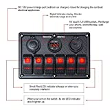 6 Gang Rocker Switch Panel Red - Digital Voltmeter