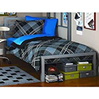 Silver Metal Twin Size Platform Bed Black Furniture Headboard Footboard and Rails Frame Industrial New