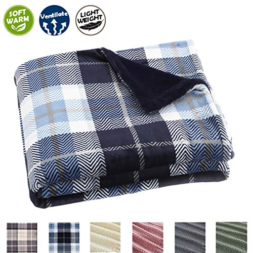 EverGrace Plaid Fleece Throw Blanket Fluffy Flannel Blanket Lightweight Soft Blue Throw Blanket for Home Couch Outdoor Travel 50x 60 ()
