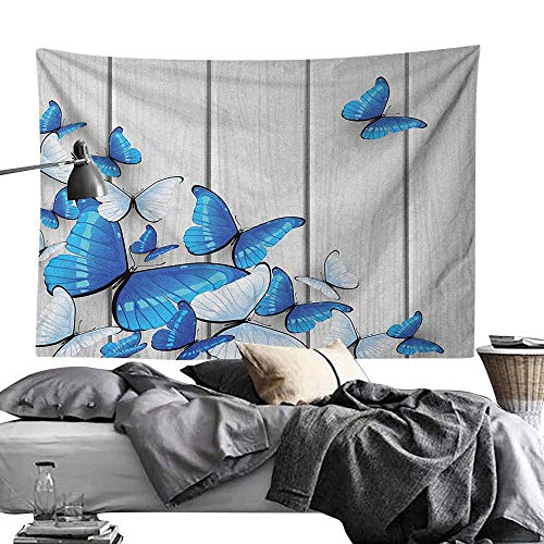 MaureenAustin Tapestry Wall Hanging DecorButterflies,Blue and White Butterflies on Wooden Background Timber Wall Rustic Life, Silver Blue White Polyester Fabric Wall Art Tapestries Home Decor50 x60