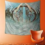 Printsonne Decorative Wall Tapestry Decor Collection Fantasy Scene in Heaven with Gate Greenery Birds Stars Decorative Artwork Decor Bedding