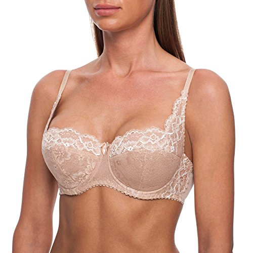frugue Women's Demi & Balconette Underwire Lightly Padded Lace Bra 38 C Blue (SL_640_85C)