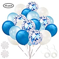 ETLEE Blue Confetti Balloons Set, 40 Pack 12 Inch Latex Balloon for Birthday Wedding Engagement Baby Shower Bridal Shower Party Decorations Supplies
