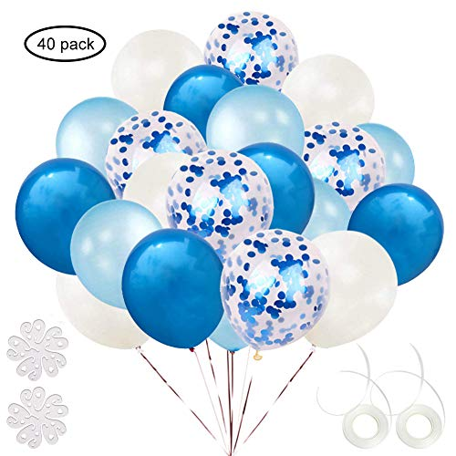 ETLEE Blue Confetti Balloons Set, 40 Pack 12 Inch Latex Balloon for Birthday Wedding Engagement Baby Shower Bridal Shower Party Decorations Supplies ()