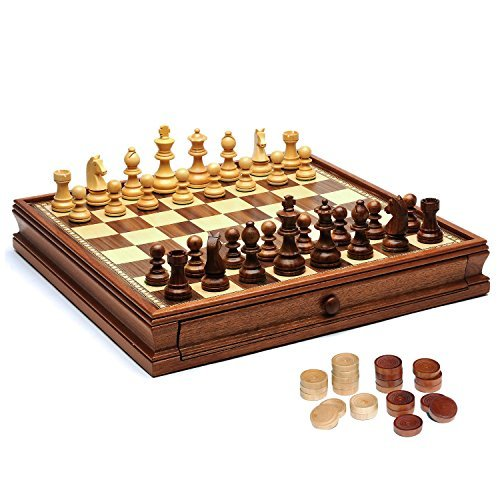 - WE Games French Staunton Chess & Checkers Set - Weighted Pieces, Brown & Natural Wooden Board with Storage Drawers - 15 in.
