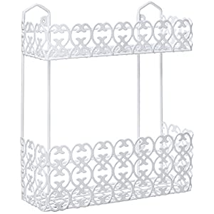 Decorative Multipurpose White Wall Mount 2 Tier Shelf Rack for Kitchen Spices/Bathroom Product Holder