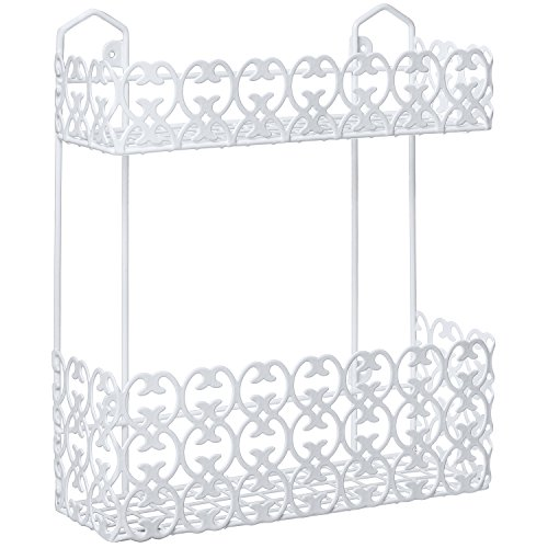 Decorative Multipurpose White Wall Mount 2 Tier Shelf Rack for Kitchen Spices / Bathroom Product Holder by MyGift