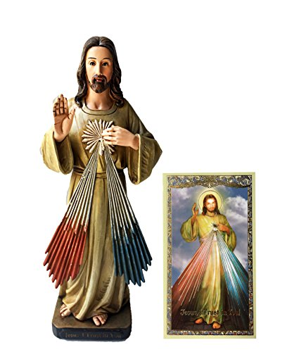 "Elysian Gift Shop Catholic 8"" Divine Mercy, Jesus, I Trust in You Statue. Avalon Gallery Collection Heart of Jesus Christ Figure with Laminated Prayer Card Included"