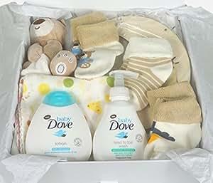 Hubano - Cesta de bebé de regalo de alta calidad, neutro. Regalo para bebé unisex con caja y cinta para recién nacido 3 meses 6 meses