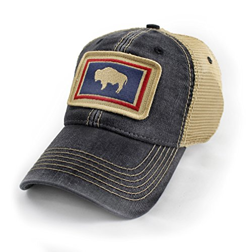 Wyoming Flag Patch Trucker Hat, Black