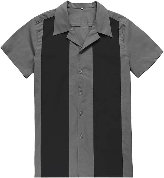 Rock N Roll Camisa para Hombre Ropa Hip Hop Rockabilly Camisas para Hombre de los años 50 Vintage Punk Camisas Coloridas Estampado Patchwork Manga Corta - Azul - X-Large: Amazon.es: Ropa y