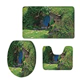 Fashion 3D Baseball Printed,Hobbits,Fantasy Hobbit Land House in Magical Overhill Woods Movie Scene New Zealand,Green Brown Blue,U-Shaped Toilet Mat+Area Rug+Toilet Lid Covers 3PCS/Set