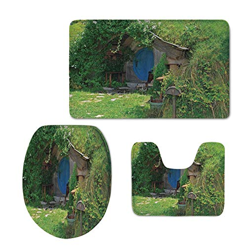 Fashion 3D Baseball Printed,Hobbits,Fantasy Hobbit Land House in Magical Overhill Woods Movie Scene New Zealand,Green Brown Blue,U-Shaped Toilet Mat+Area Rug+Toilet Lid Covers 3PCS/Set by iPrint