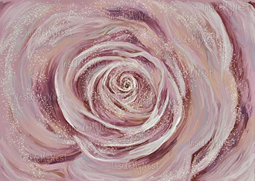 Rose Art Wall Decor Baby Girl Nursery Print Oil Painting Flower Floral Blush Vintage Art Deco Poster A3 16x11 ()