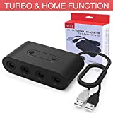Gamecube Controller Adapter for Switch/Wii U/PC USB, HEYSTOP (Upgraded Version) Turbo and Home Buttons Wii U Gamecube Controller Adapter Switch for Nintendo Switch, Wii U & PC USB, 4 Port