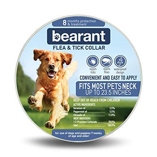 Bearant Flea and Tick Collar for Dogs - 8 Month Protection Dog Flea Treatment - Organic Flea Collar for Dogs - Adjustable Size Fits All Dog Flea Collar - Waterproof Dog Flea and Tick Collars, Orange