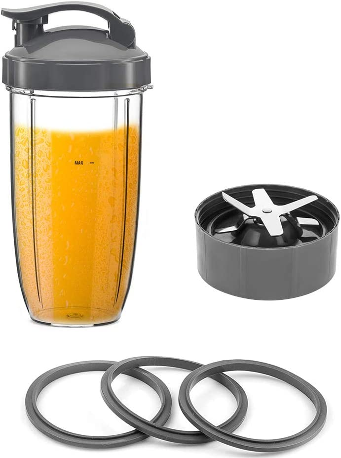 Blender Replacement Parts 32 oz Cup, Lid, Blade and 3 Pcs Extra O-Ring Gasket Seal Lip Ring for Blender 600W and 900W