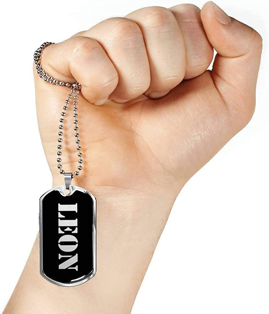 Luxury Dog Tag Necklace Personalized Name Gifts Leon v3