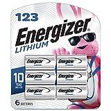 Energizer 123 Lithium Batteries, 3V CR123A Lithium Photo Batteries (6 Battery Count)