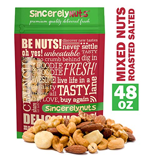 (Sincerely Nuts Roasted & Salted Mixed Nuts (3 LB) Almonds, Cashews, Pecans, Brazil Nuts and Hazelnuts - Healthy Snack - Nutrient Rich Alternative Treat for the Whole Family-Vegan, Kosher & Gluten-Free)