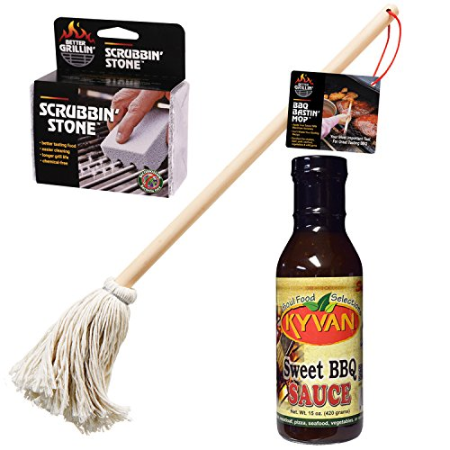 3pc BBQ Gift Set with BBQ Bastin Mop, Grill Scrubbin Stone,